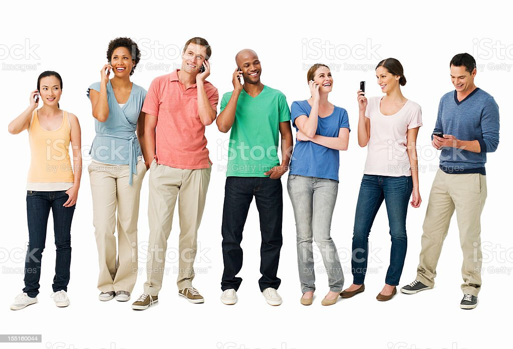Young Adults on Cellphones - Isolated royalty-free stock photo