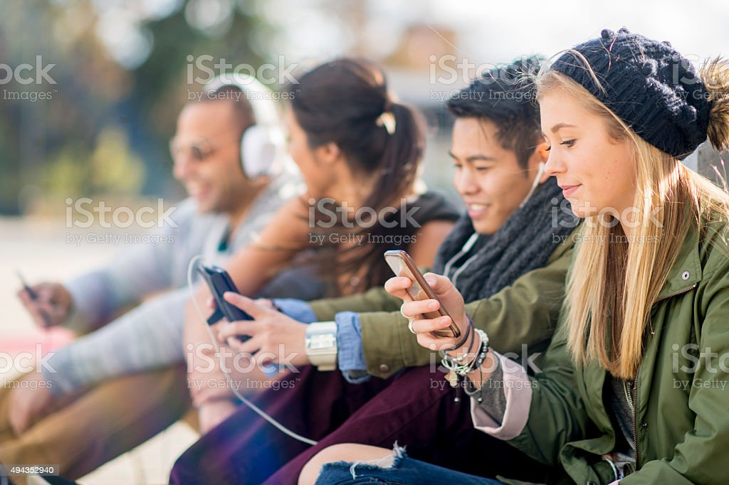 Young Adults on Social Media stock photo