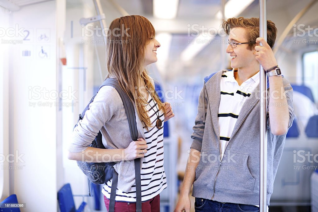 young adults traveling by train royalty-free stock photo