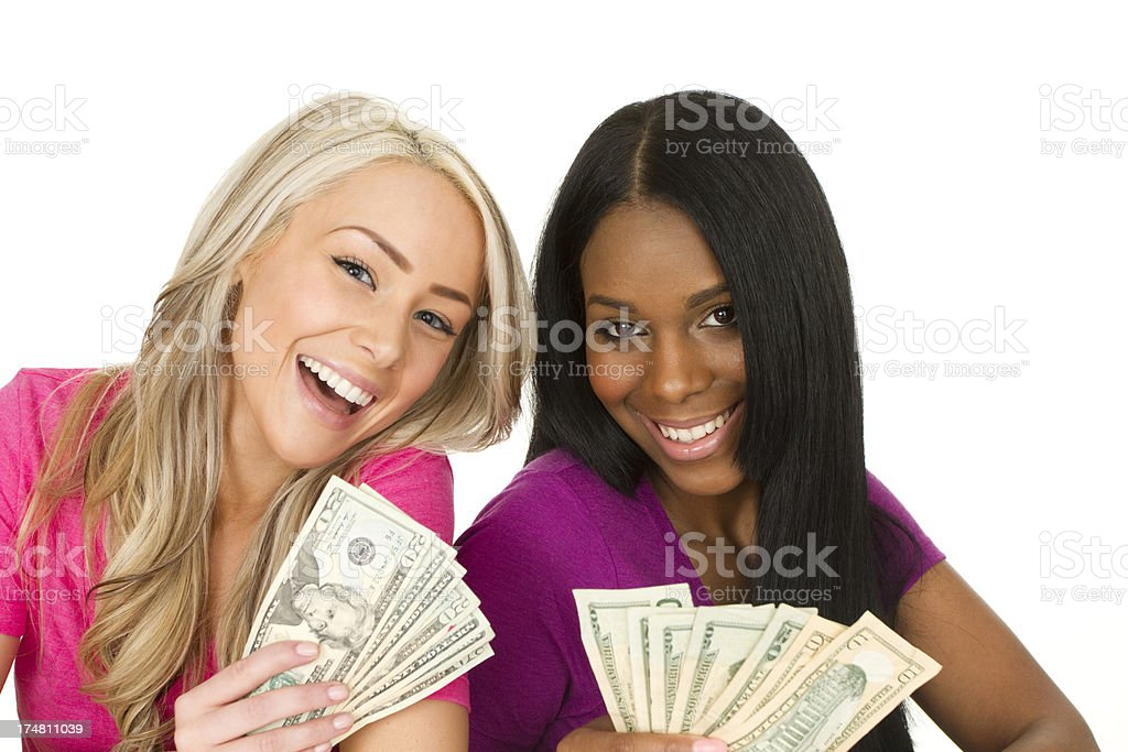 young adults with cash royalty-free stock photo