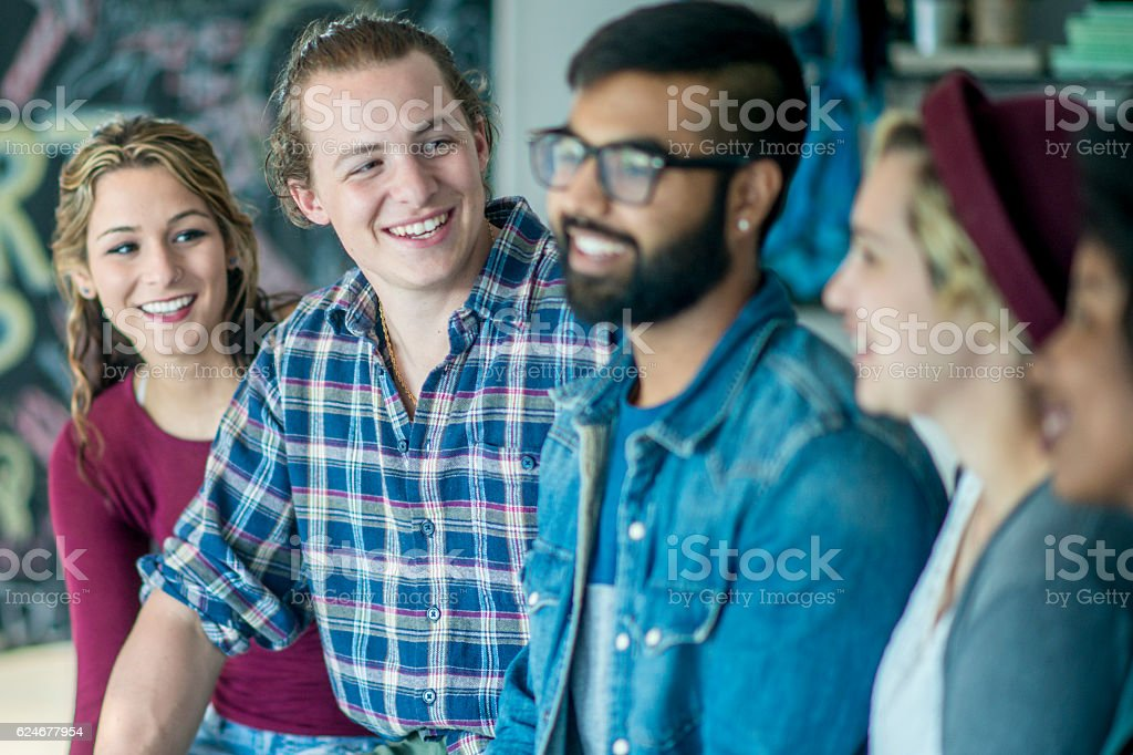 Young Adults Working at a Start Up stock photo