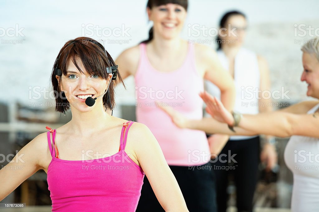 Young aerobics instructor stock photo