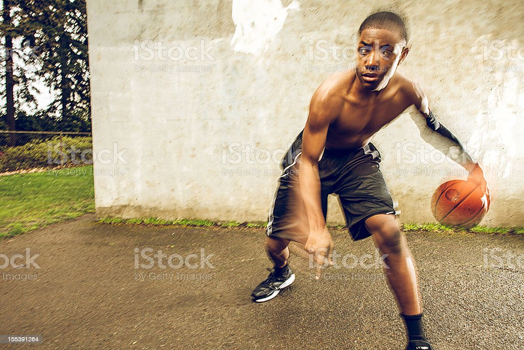 Young African American basketball player royalty-free stock photo