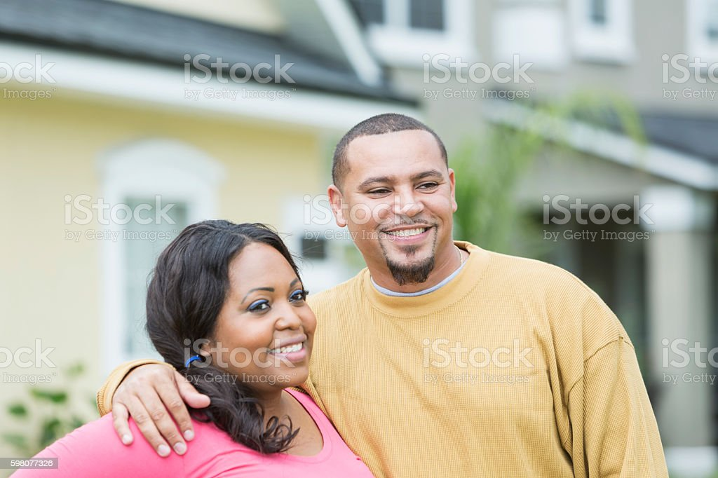 Young African American couple outside home stock photo