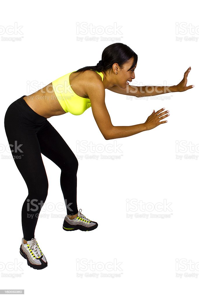 Young African American Female Playing Dodgeball stock photo