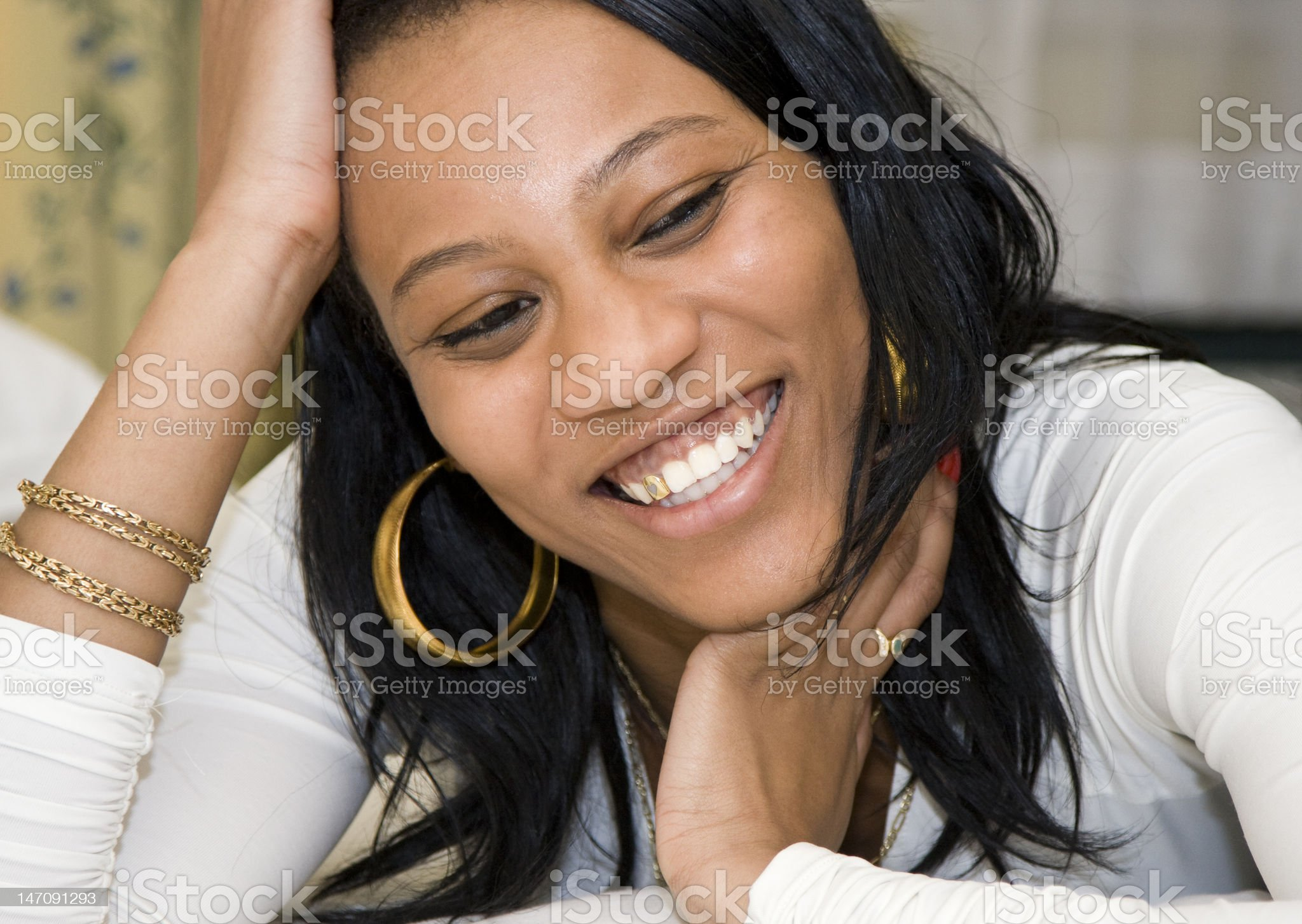 Young African American Female Smiling royalty-free stock photo
