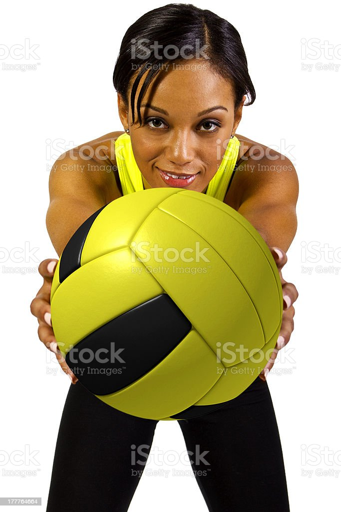 Young African American Female Vollyball Player Smilling royalty-free stock photo