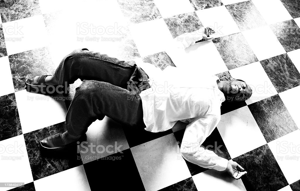 Young African American Male lying on floor royalty-free stock photo