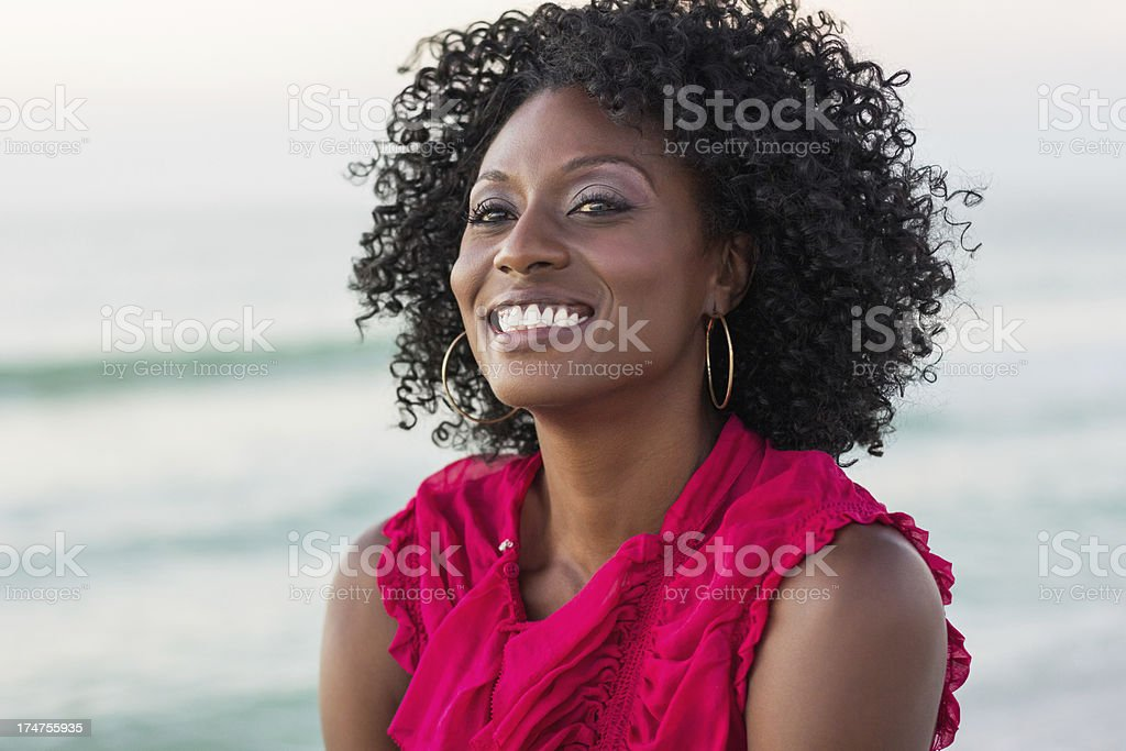 Young African American Woman Looking Away royalty-free stock photo