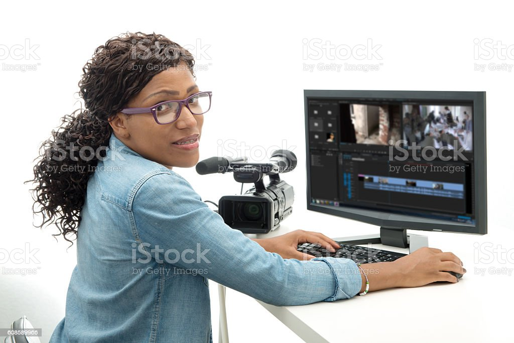 young African American woman video editor stock photo