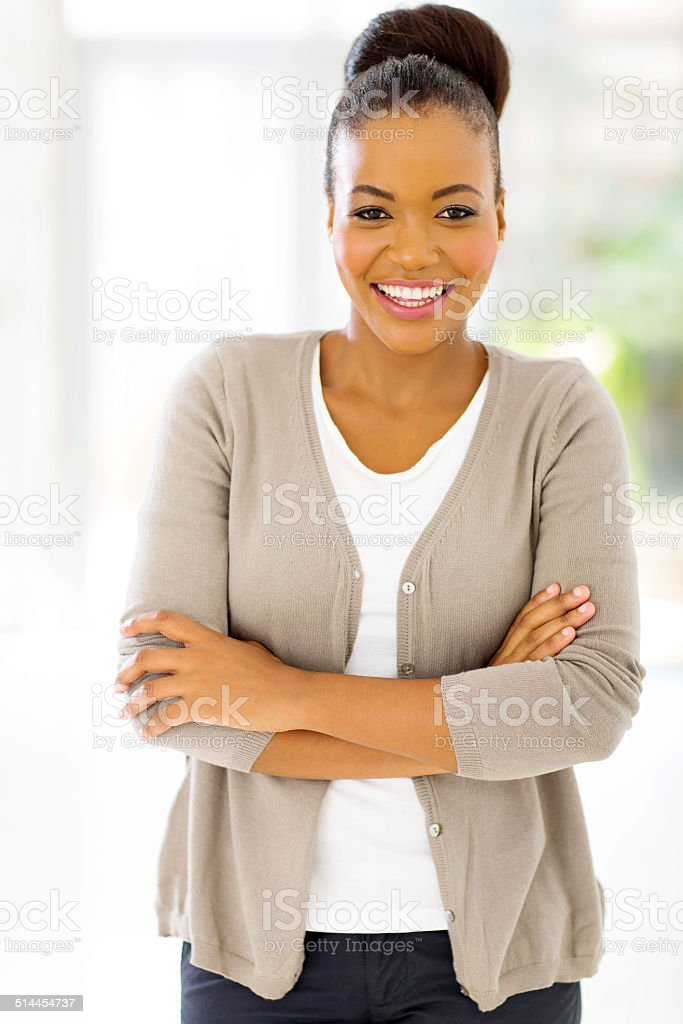 young african businesswoman looking at the camera stock photo