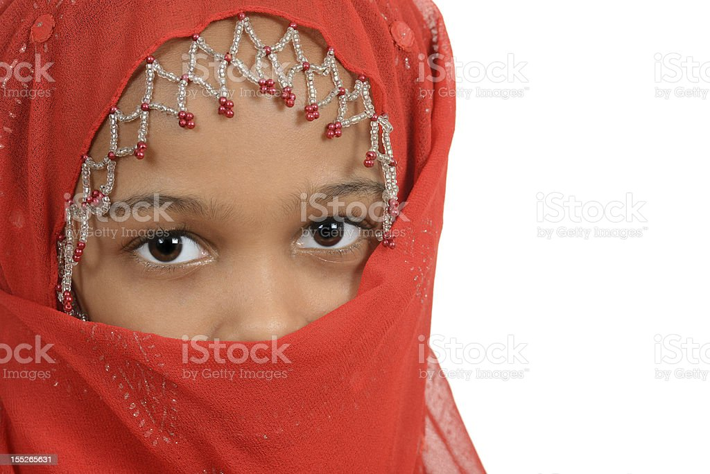 Young african girl wearing a red scarf stock photo