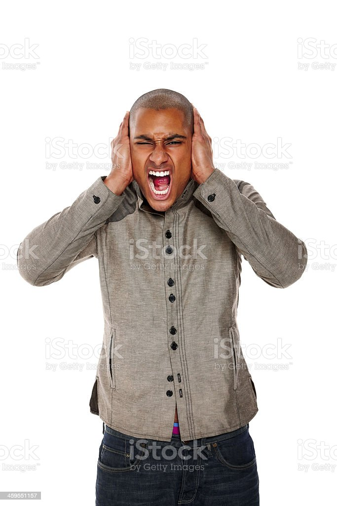 Young african guy looking frustrated stock photo