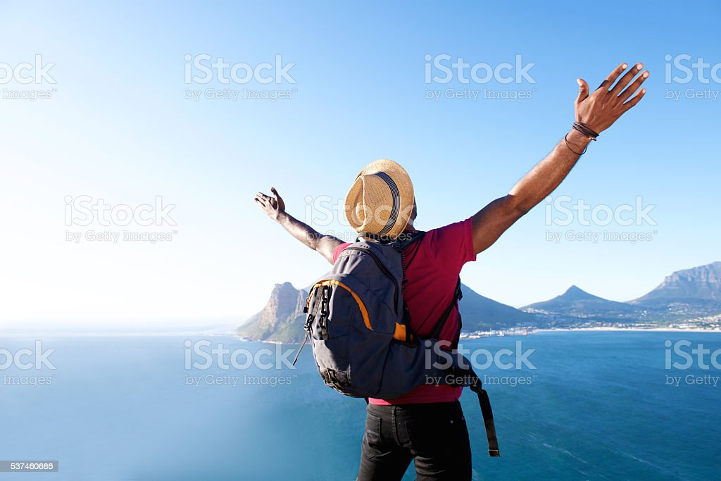 Young african guy on vacation stock photo