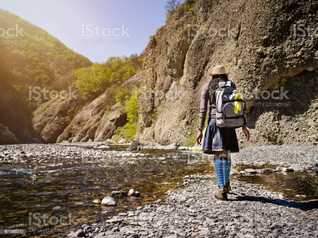 Young African Hiking Woman stock photo