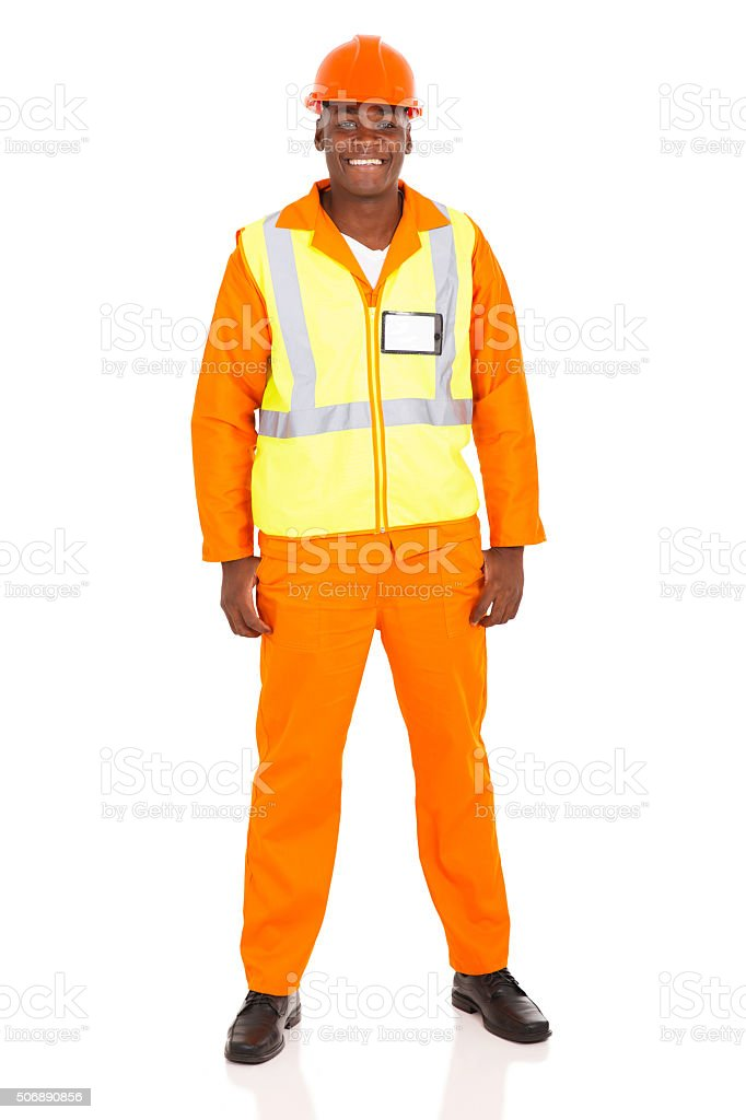 young african industrial worker stock photo