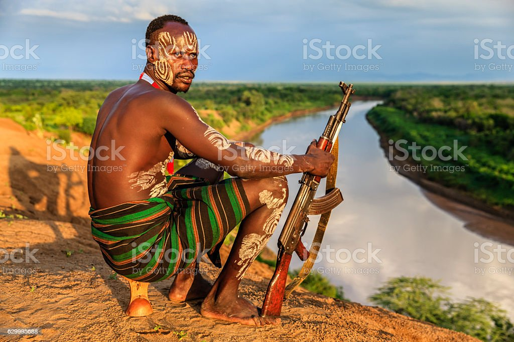 Young African man from Karo tribe, East Africa stock photo