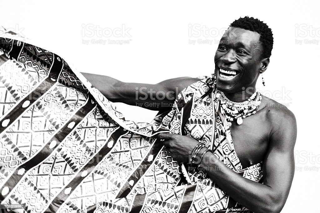 Young African Man in Traditional Dress, Black and White royalty-free stock photo