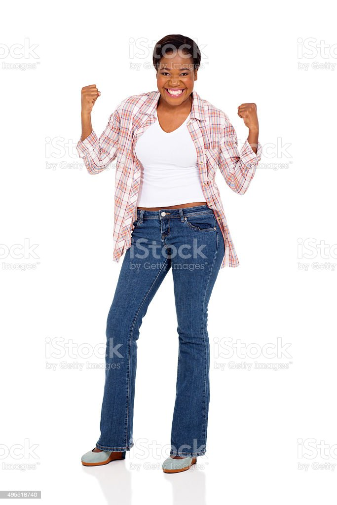 young african woman holding fists stock photo