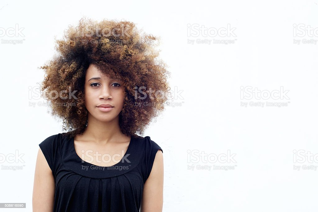 Young african woman with curly hair stock photo