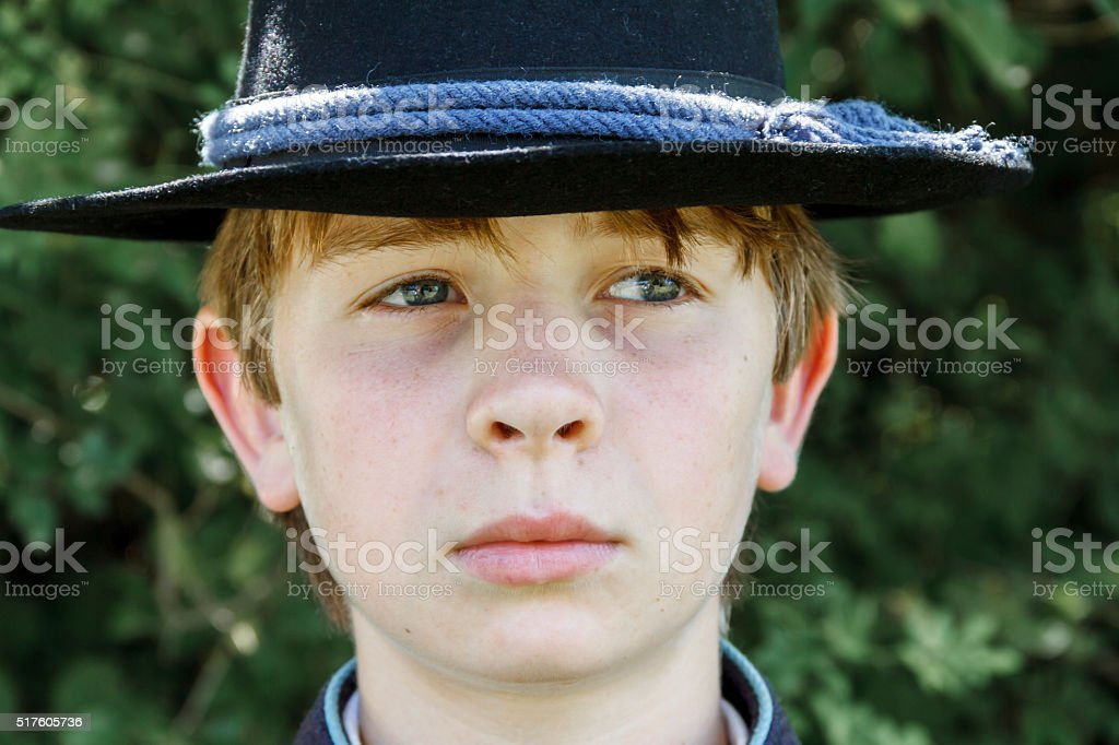 Young American Civil War Union Soldier Looking Off Camera stock photo