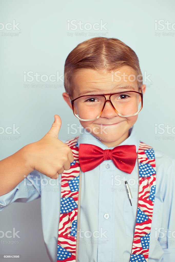 Young American Voting Boy on Election Day stock photo