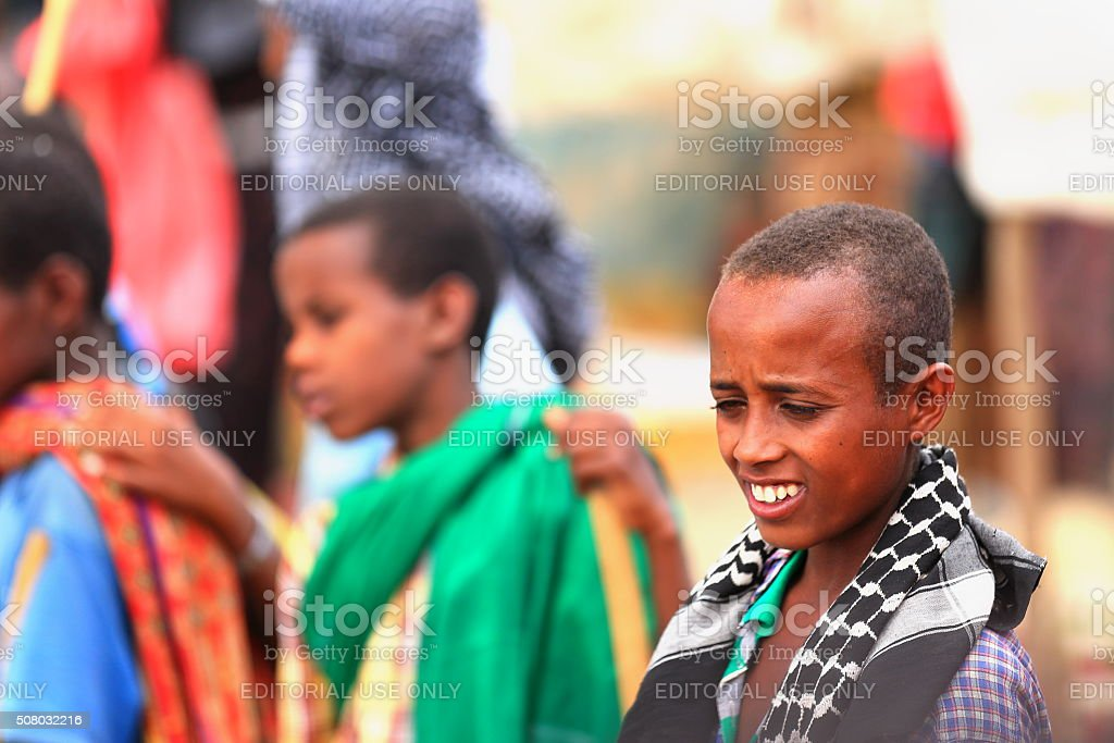 Young amharic shepherds in the sunday market. Senbete-Ethiopia. 0028 stock photo