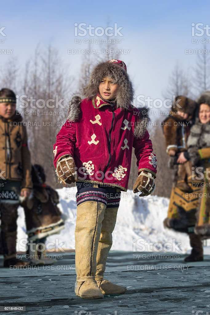 Young an Evenk in national costume stock photo