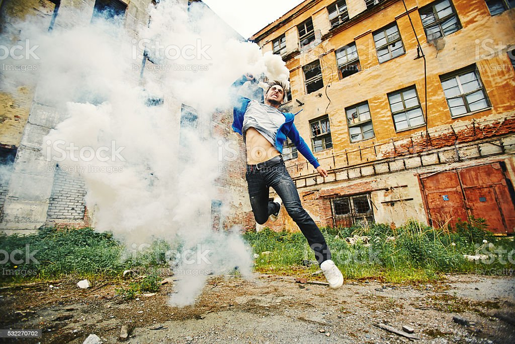 Young anarchist stock photo
