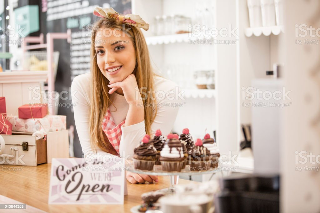 Young and ambitious small business owner stock photo