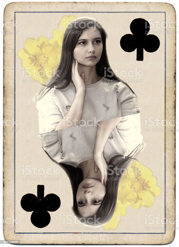 Young and beautiful Bulgarian outdoor girl queen of clubs playing card stock photo