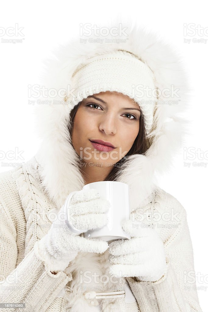 Young and beautiful smiled female in sweater,winter royalty-free stock photo