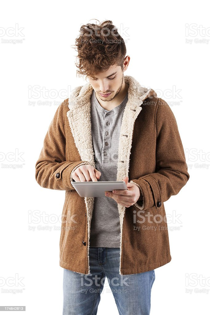 Young and handsome male with tablet royalty-free stock photo