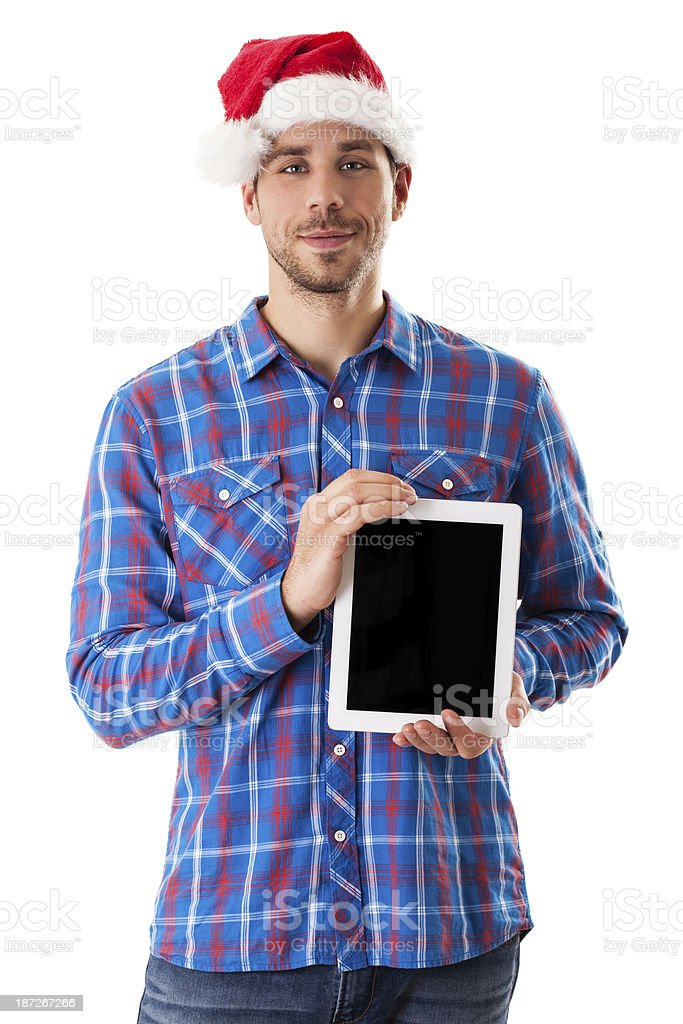 Young and handsome smiled male with tablet royalty-free stock photo