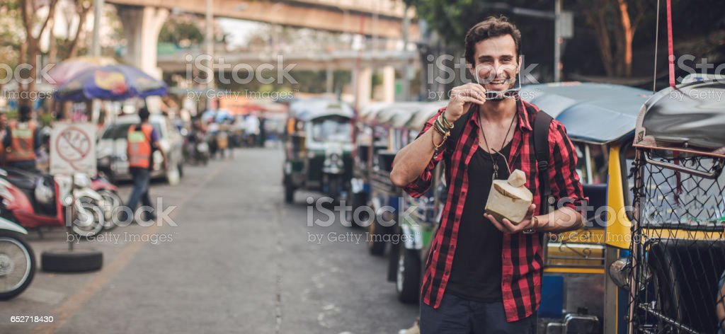 Young and handsome tourist stock photo