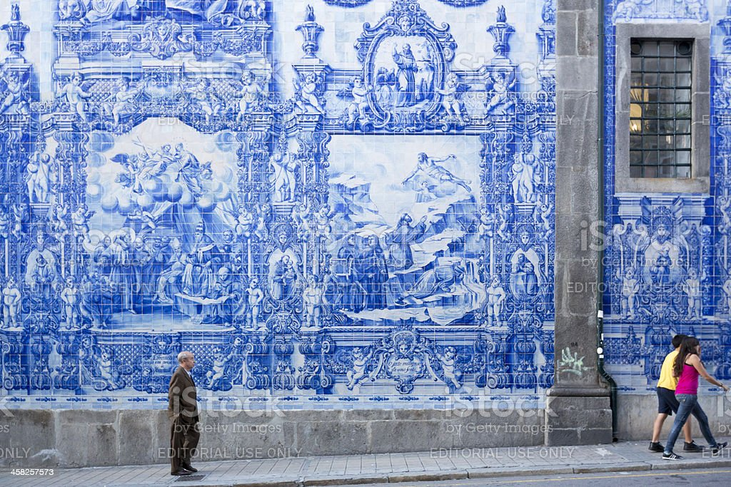 Young and Old People walking in a Porto Street stock photo