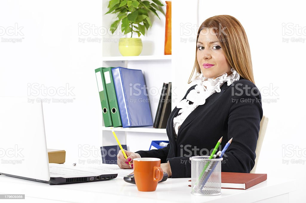 Young and pretty businesswoman working royalty-free stock photo