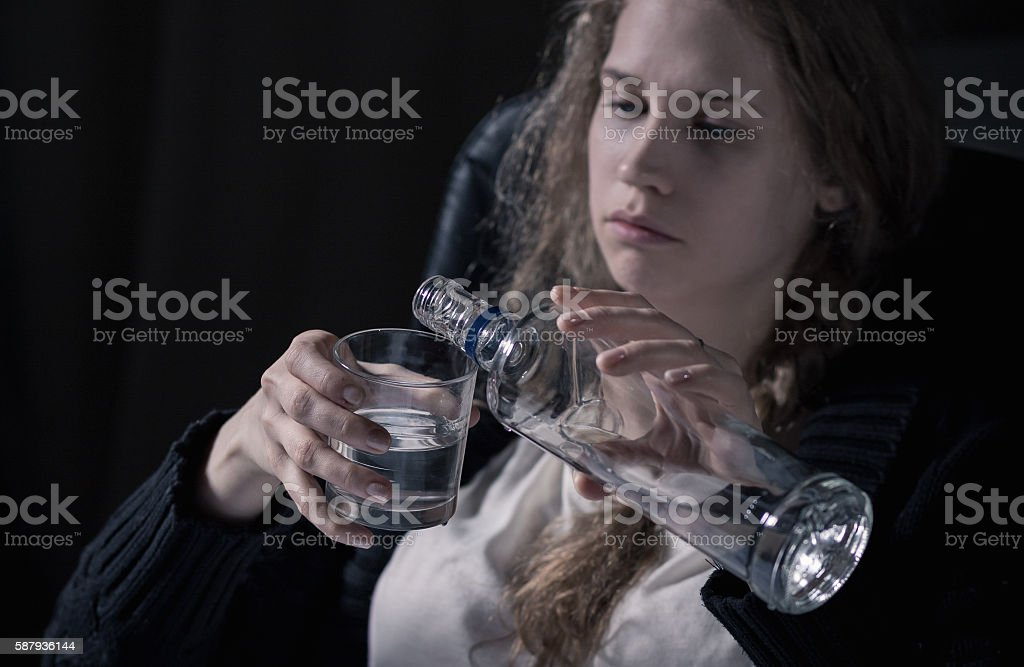 Young and sad stock photo