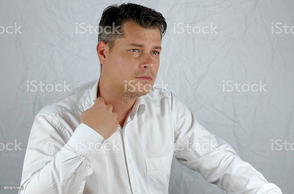 Young angry business man hand mimicry stock photo