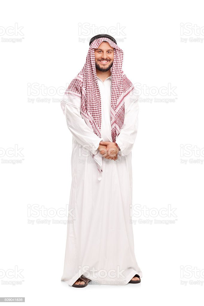 Young Arab in a white robe and a red veil stock photo