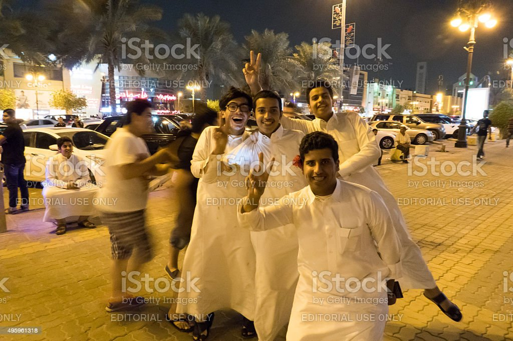 Young arabian men in the main street of Riyadh stock photo