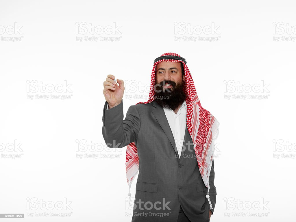 Young Arabic Businessman Drawing royalty-free stock photo