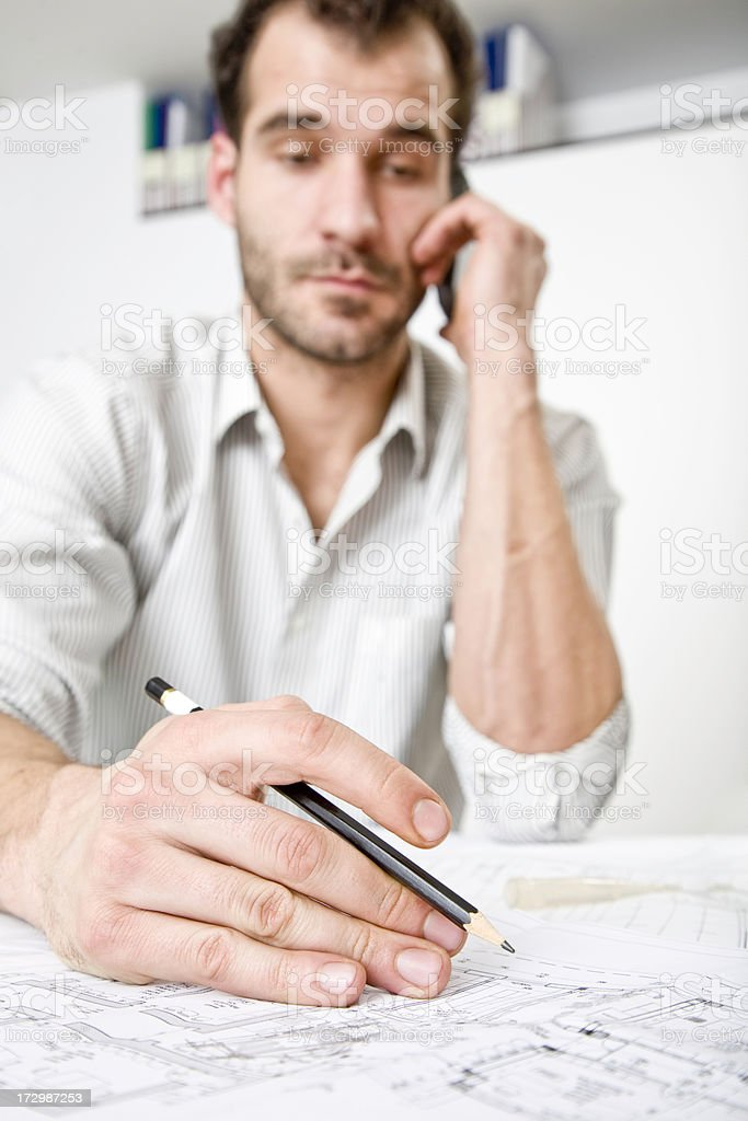 Young architect at work royalty-free stock photo