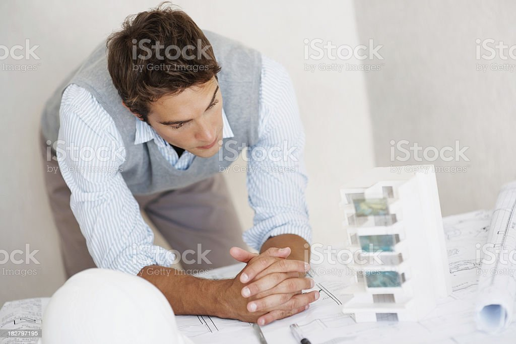 Young architect planning for his project royalty-free stock photo