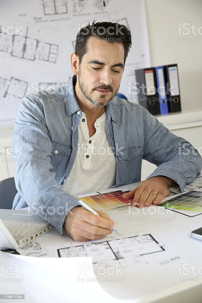 Young architect working on office royalty-free stock photo