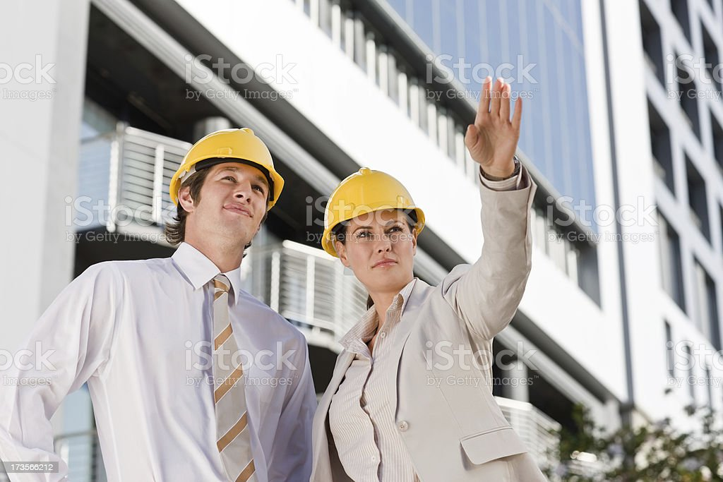 Young architects looking up royalty-free stock photo
