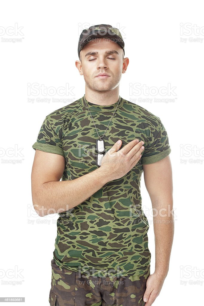 Young army soldier performing oath stock photo