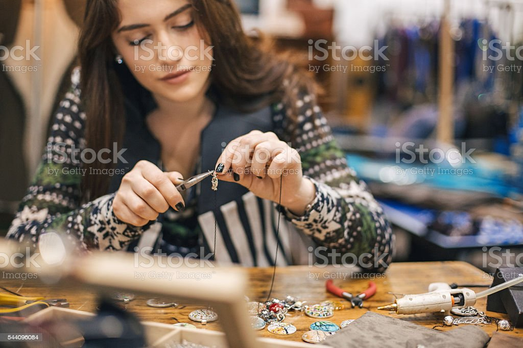 Young artisan in handmade business stock photo