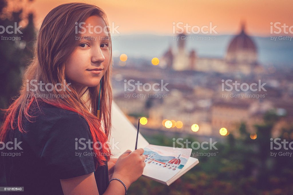Young artist in Florence stock photo