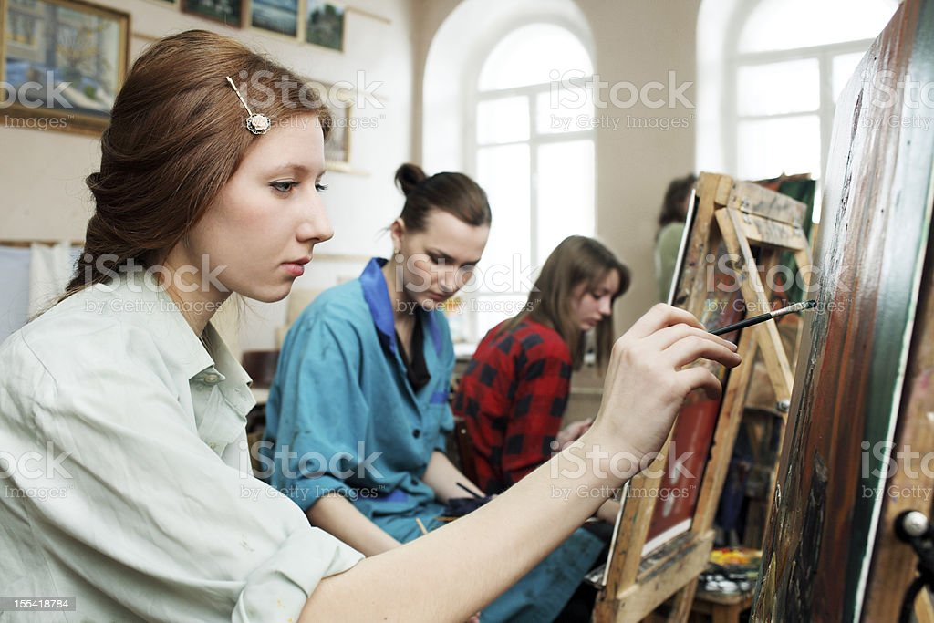 Young artists painting workshop royalty-free stock photo